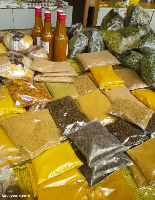 Spices and hot sauces on sale at Market Square, St George, Grenada