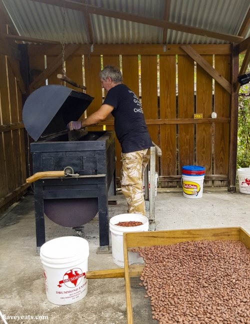 Kim roasting cocoa beans at Crayfish Bay in Grenada