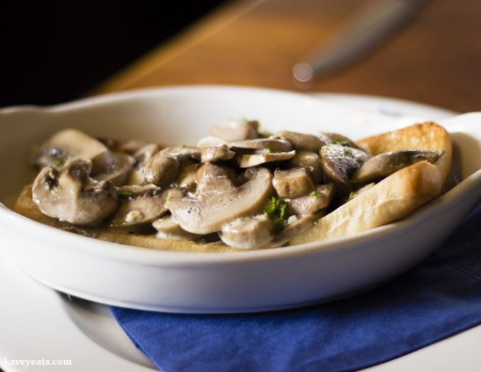 Mushrooms in garlicky cream on ciabatta at the Horseshoe Inn, Pontypool