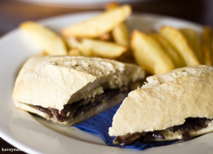 Steak ciabatta sandwich and chips at the Horseshoe Inn, Pontypool