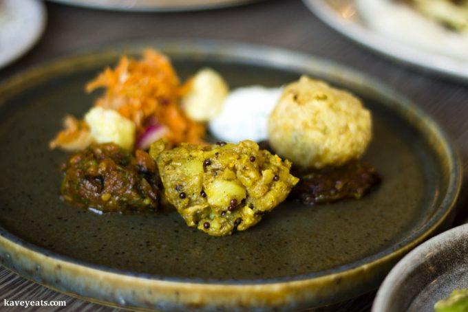 Sri Lankan spiced potato, vada, sambol, pickles at The Gaff in Abergavenny