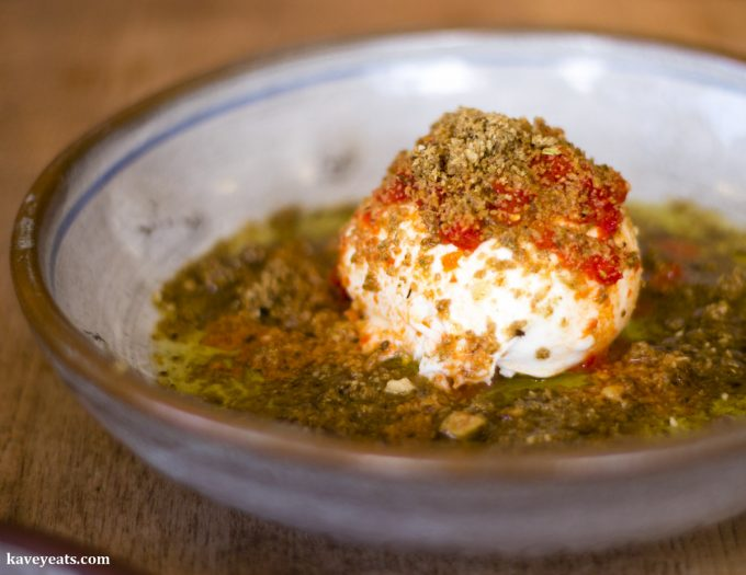 Burrata, fermented chilli, lemon, olive oil and dukkah