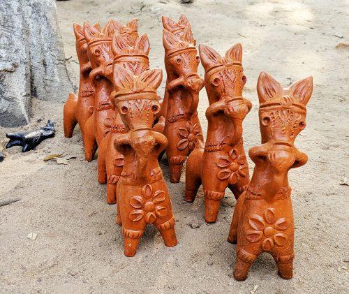 Terracotta Bankura horses from Panchmura village, near Bishnupur, in West Bengal