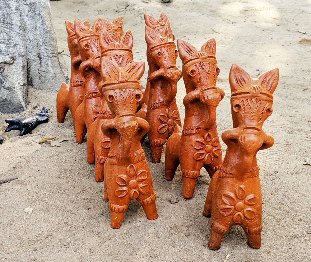 Terracotta Bankura horses from Panchmura village, near Bishnupur, in West Bengal