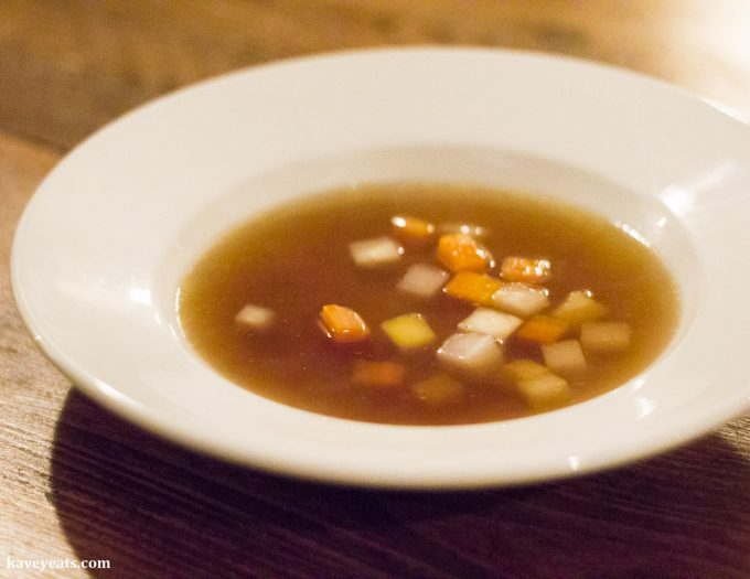 Game Bird and Madeira Broth, root Vegetables