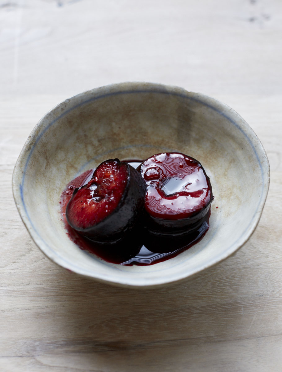 Ginger-Roasted Plums with Lime, Rum & Muscovado Cream