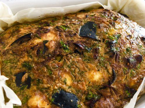 Aubergine & Caramelized Onion Kuku fro Sabrina Ghayour cookbook Bazaar