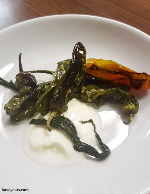 Padron Peppers, Preserved Wild Garlic, Lemon Salt, Yoghurt