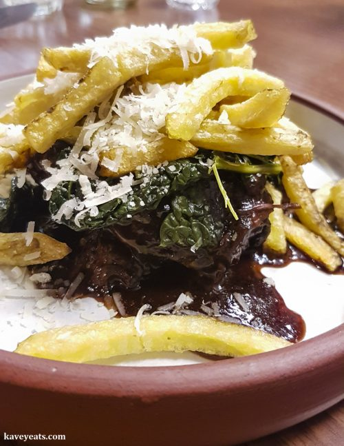 Ox Cheek, Beer and Treacle, Beef Fat Parmesan Fries, Roast Onion