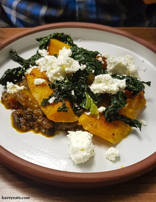 Baked Squash, Chilli Sage Butter, Feta and Smoked Aubergine Ragu