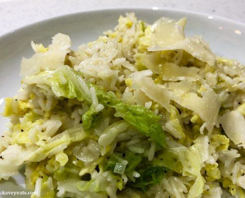 Lemon, Black Pepper, Pecorino & Cabbage Rice from Sabrina Ghayour cookbook Bazaar