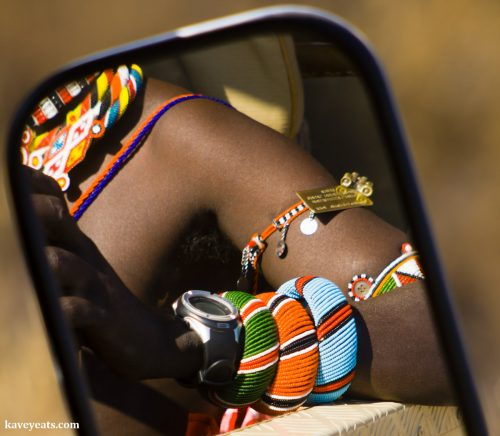 Kenyan beadwork worn by a Samburu guide