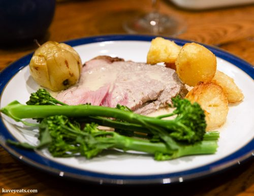 Roast lamb with apples, somerset cider brandy and cream