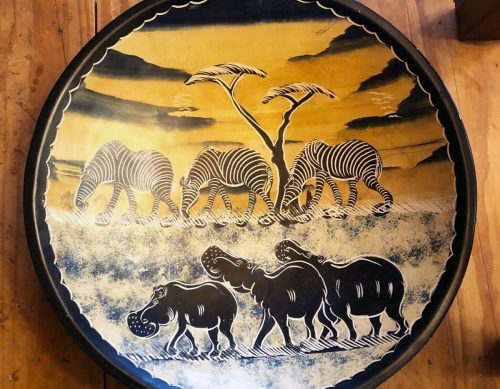 Carved and painted soapstone bowl with safarai scene