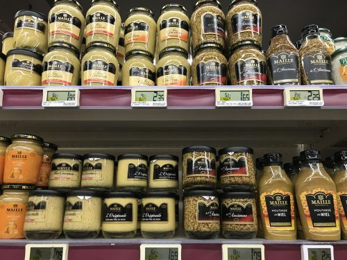 French mustards on shop shelves