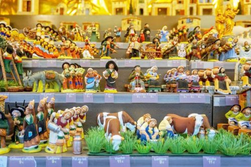 Santons de Provence figurines in shop window