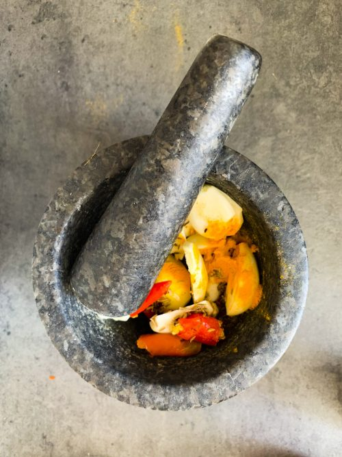 Mortar and Pestle with spice paste ingredients