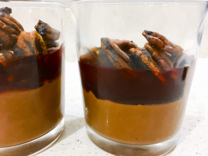 Chocolate Mousse with boozy cherries and miso roasted pecans