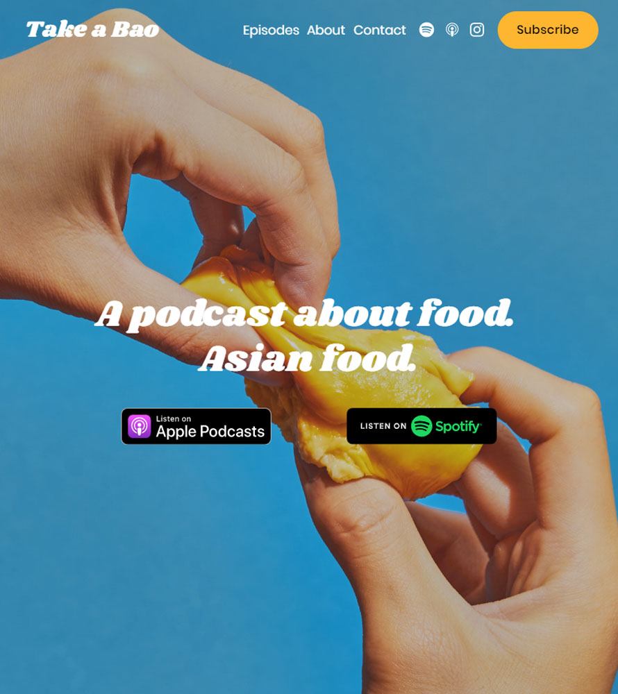 Screenshot of Take a Bao podcast website page