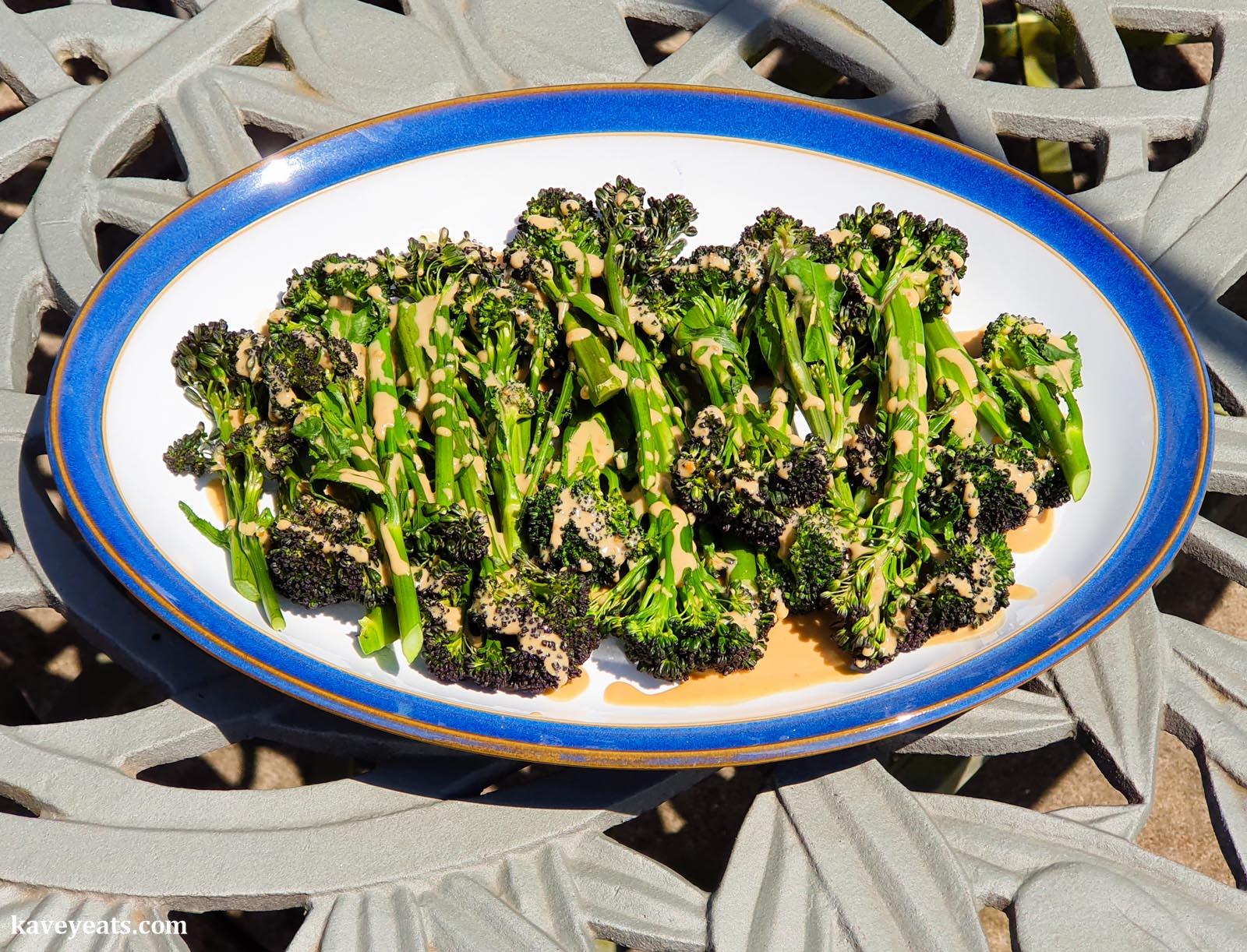 Maple Miso Tahini Sauce (over Purple Sprouting Broccoli)