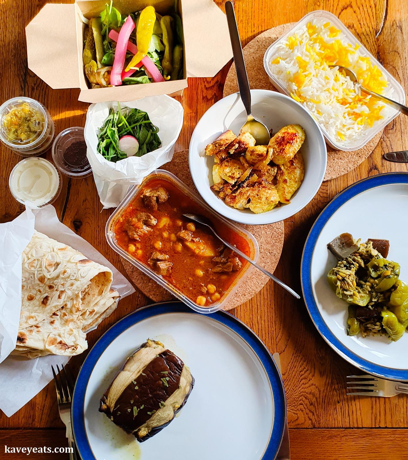 Joojeh kebab (Persian chicken kebab) and Ab goosht (lamb and aubergine hot pot)