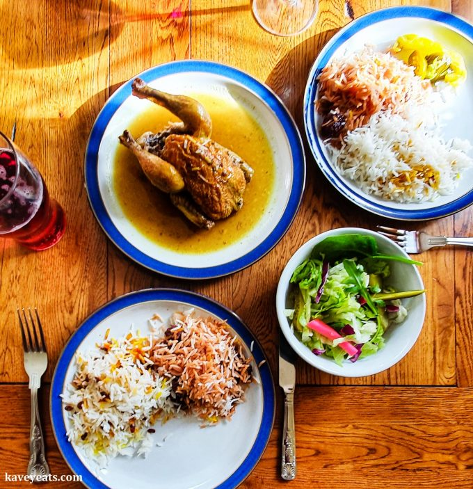 Stuffed poussin and sour cherry lamb and rice