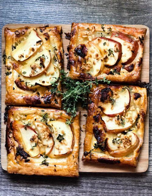 Apple, goat's cheese, honey & hazelnut tarts