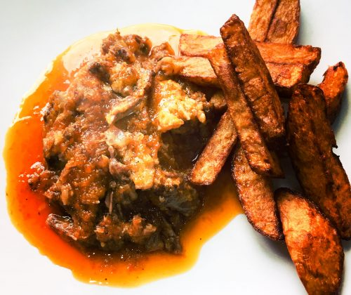 Slow-cooked Oxtail with Peppers and Olive Oil Chips (Aegean)