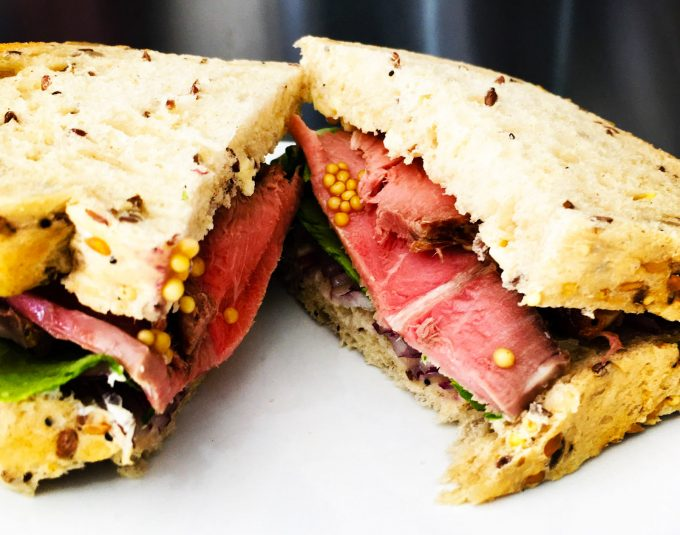 Beef sandwich using Pickled mustard seeds from Condiments book-