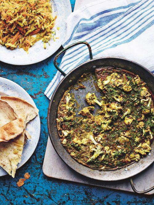 Cauliflower kuku recipe from Roasting Pan Suppers by Rosie Sykes