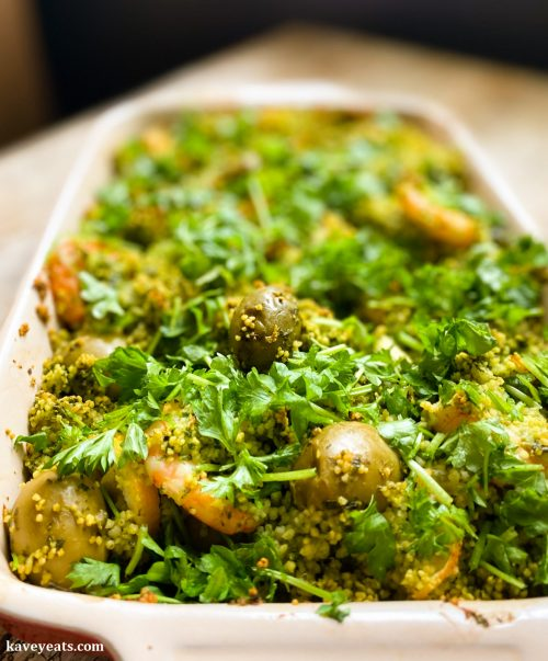 Green couscous with prawns from Roasting Pan Suppers