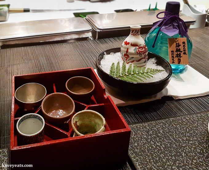 A choice of choko (sake cups) offered with sake