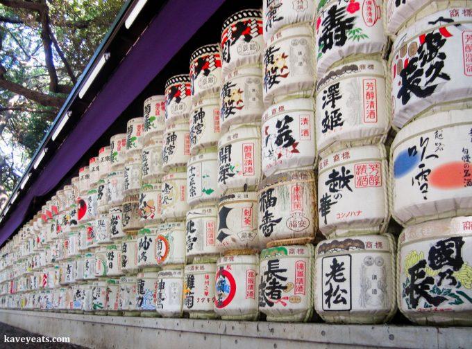 Sake Barrels at Meiji Jingu (Shrine) in Tokyo
