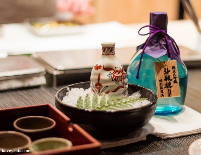 Sake served during a meal at Kyoto Hoshinoya