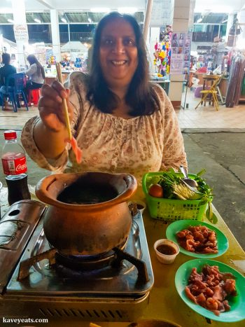 Eating Hot Pot at Chiang Rai Night Bazaar Thailand