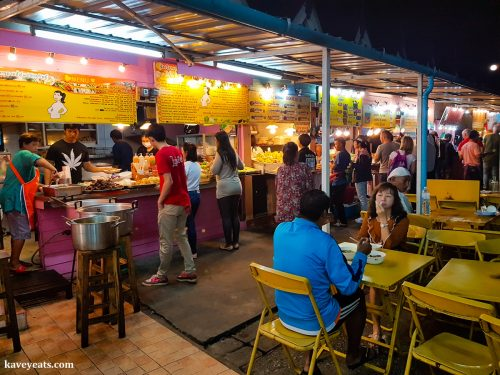 Seating and stalls at Chiang Rai Night Bazaar Thailand