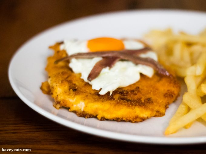 Doritos-Coated Schnitzel with Fried Eggs and Anchovies