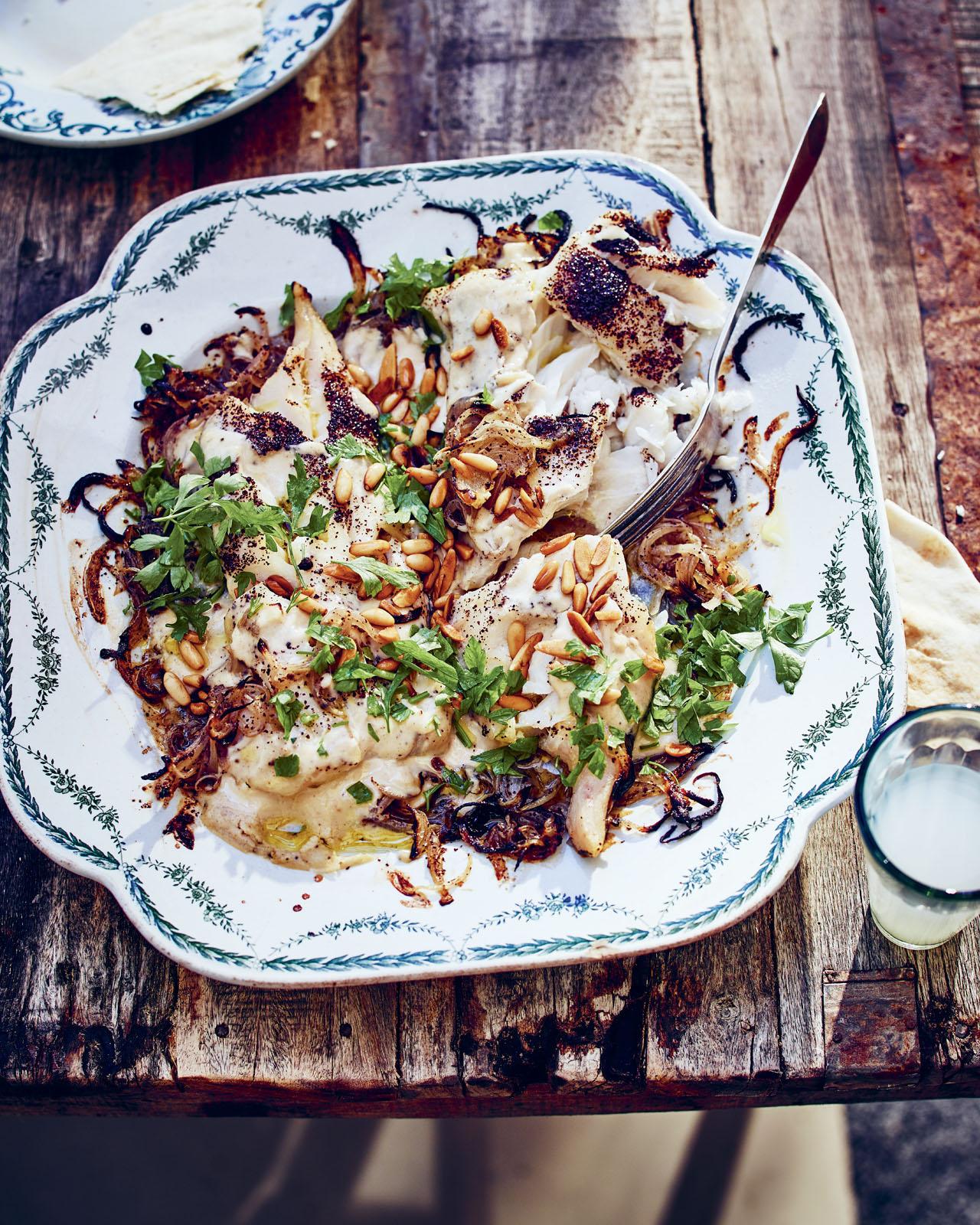 Syrian Fish with Sumac Tahini sauce