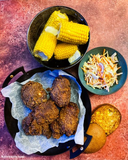 Gluten-Free KFC Chicken with Corn on the Cob and Coleslaw