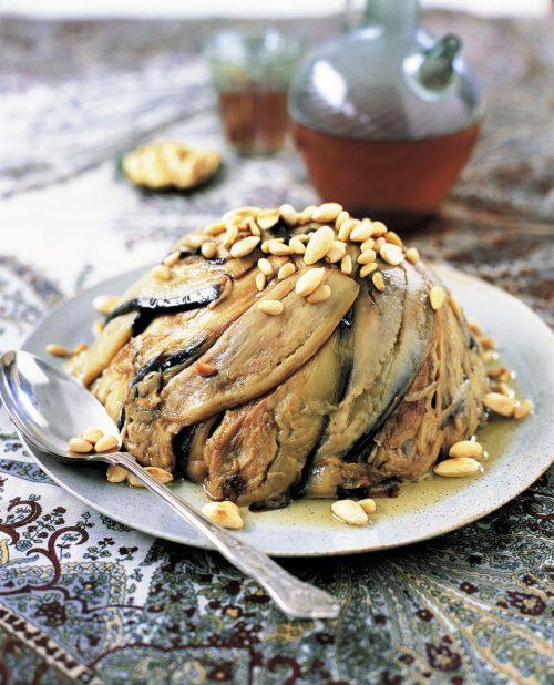 Rice with aubergine (maklubeh bajinjan)