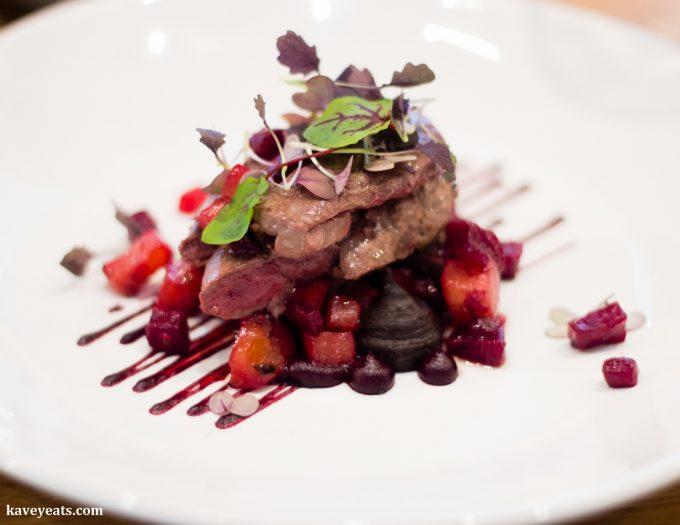 Roast Wood Pigeon, Black Pudding, Beetroot, Raspberry