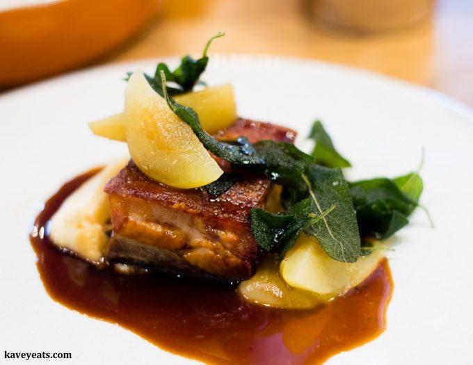 Slow Cooked Pork Belly, Sage, Appe, Celeriac