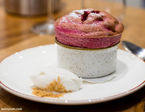 The Shed Souffle (Raspberry with Parma Violet Ice Cream)