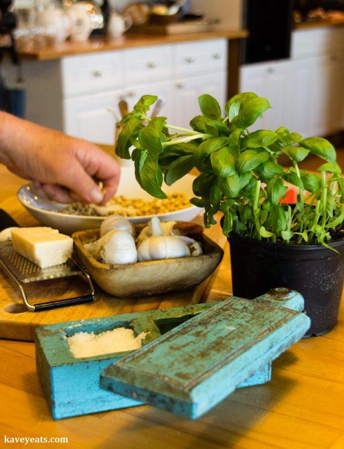 Ingredients to make pesto