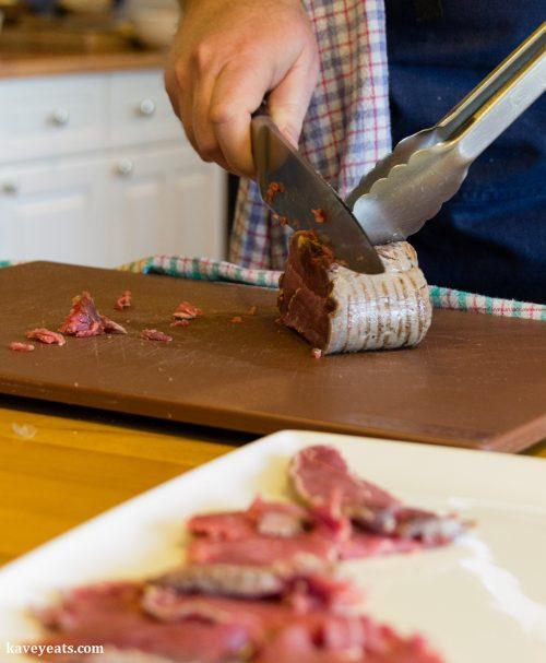 Slicing beef for carpaccio