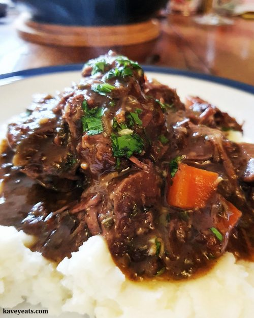 Beef braised in ale with persillade
