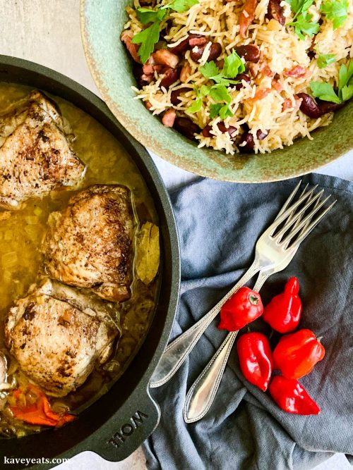 Chicken Fricassée with Rice and Beans recipe from Sunshine Kitchen by Vanessa Bolosier