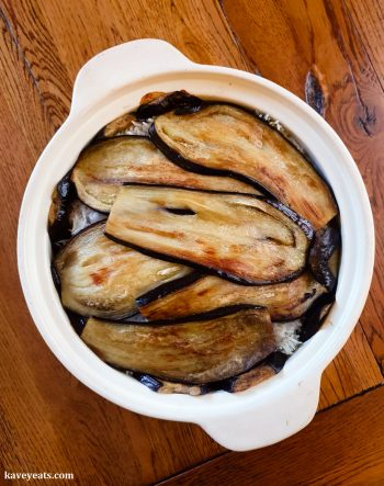 Homecooked Rice with aubergine (maklubeh bajinjan) in the baking dish