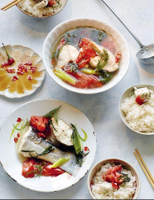 Vietnamese cookbook Sea Bass Tomato Dill Soup
