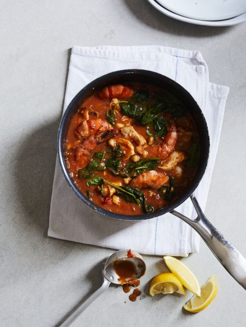 One pot Fish, Chickpea and Spinach Stew shown in cooking pot